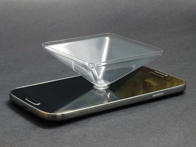 Hologram Pyramid Attached to Screen by Suction Cup
