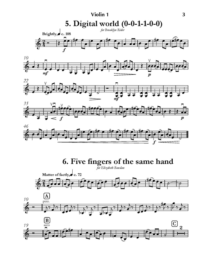 A sample page of the first violin part from Volume I.