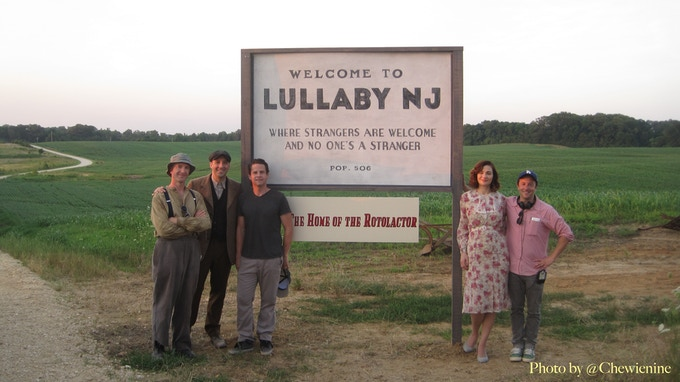 On the road to Lullaby, NJ with (from left) Michael Dowling (Co-writer), Tony Hale (Clark), Taylor Williiams (Producer), Heather Burns (Lorraine), Jody Lambert (Director / Co-writer)