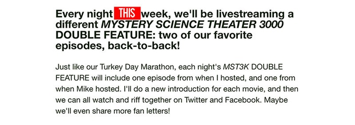 Bring Back MYSTERY SCIENCE THEATER 3000 by Joel Hodgson » 75% Funded