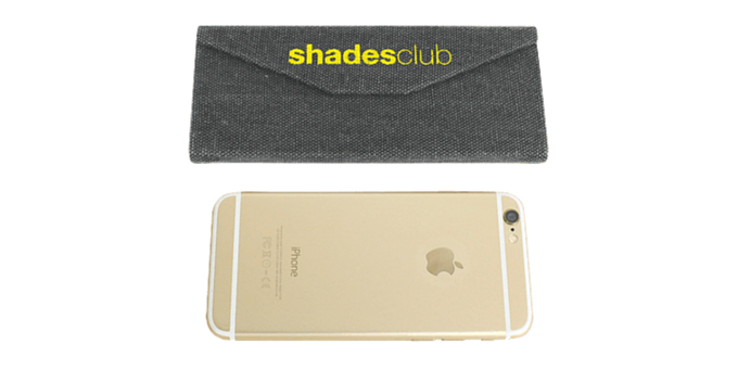 Our Signature Fold-up Case, fully protects your shades, folds down to the size of an iPhone!