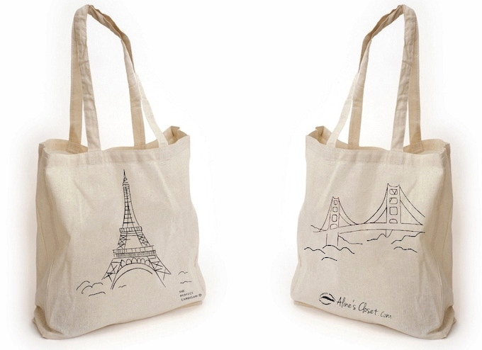 The Eiffel Tower + The Golden Gate Bridge tote bag, front | back