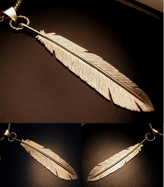 Raven Feather Pendant - Hand Cut and Etched Sterling Silver - Reward #19