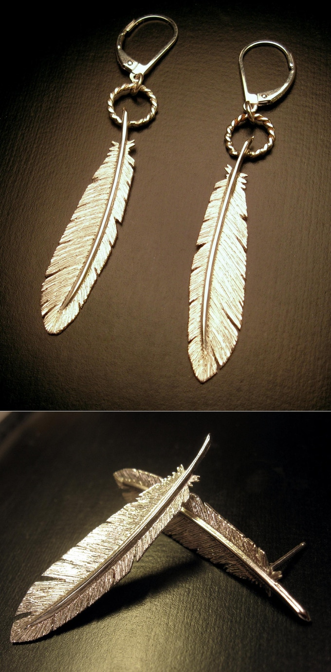 Raven Feather Earrings - Hand Cut Sterling Silver - Post or Dangle - Reward #18