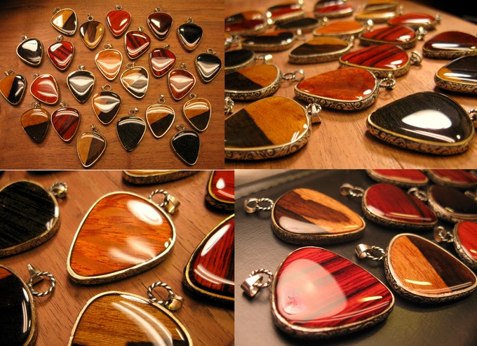 Sterling Silver and  Exotic Wood Guitar Pick Shaped Pendants - Limited Edition- Reward # 14