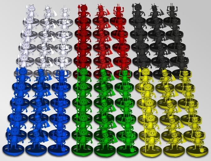 An unlocked stretch goal - 90 ant miniatures for the 6 players!