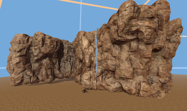 U- and C-shaped walls in editor (the seam is left visible intentionally)