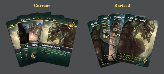 Revised Layouts by graphic designer Josh Derksen, making the card effects easier to read, while also maximizing the artwork