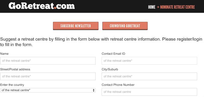 Nominate a retreat centre here!