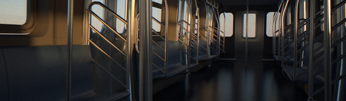 Renders of the interior of the R160 train car from Blackout collaborator Matt Wilson.