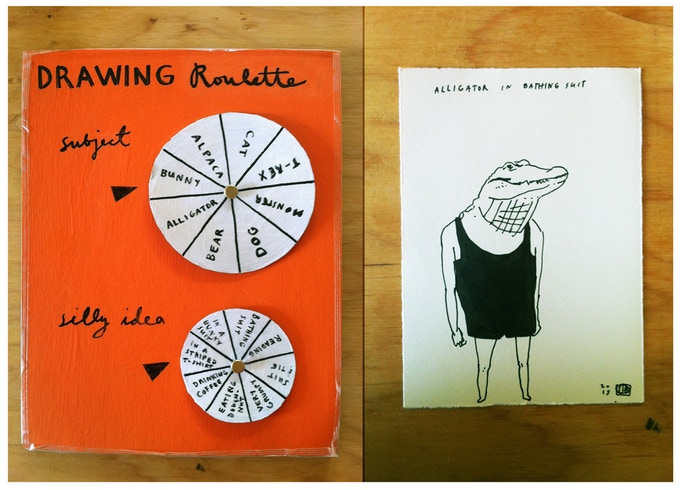 Drawing roulette wheel and sample drawing ($75 reward).