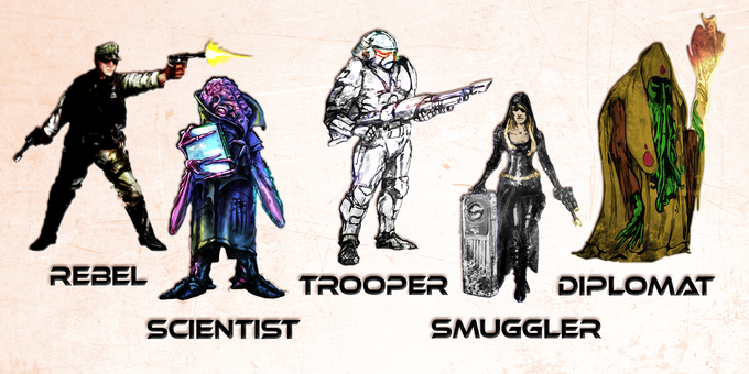 The Rebel, Scientist, Trooper, Smuggler, and Diplomat are part of your core team of Miniatures.