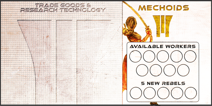 An Example Player Board for the Mechoid Faction. Use the Right hand side to keep track of your Workers, and the left to collect Trade Goods, Missions, and More!