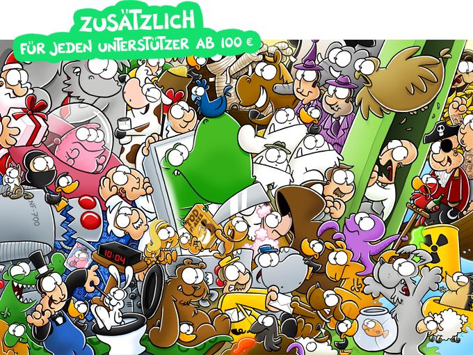 Dieses Wimmelbild mit allen NICHTLUSTIG-Figuren gibt es jetzt als Riesenposter (70x100cm) zusätzlich für alle Unterstützer ab 100 € gratis dazu!