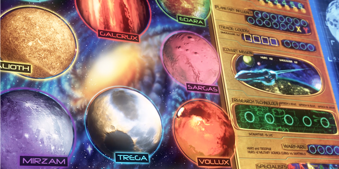 Empires: Galactic Rebellion is played on a map (Game Board) which shows the 8 planetary hubs within the Galactic Empire. Each player receives a number of workers with which to execute actions from the Event Board on the right side of the main Game Board.