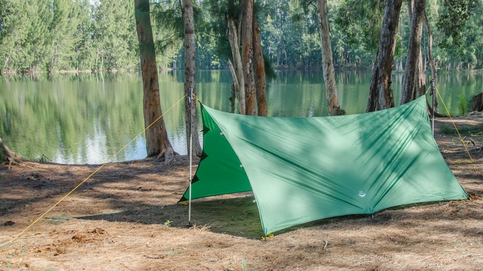 2 Pole Tarp Camping Mode: By using found sticks or your hiking poles, the Apex can be pitched as a camping tarp with excellent coverage.