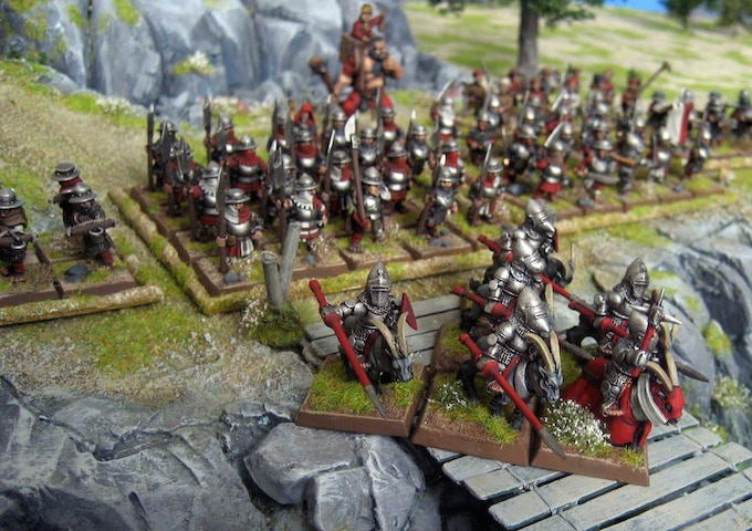 Goat Knights forming up and lowering the lances.