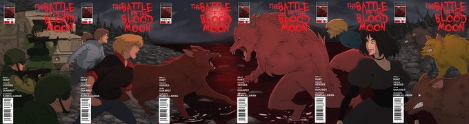 The covers of all six issues, lined up together.