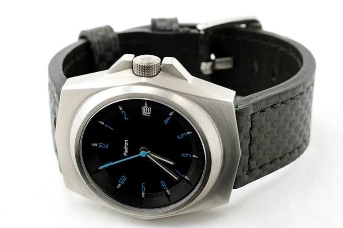 The silver Selby with black dial and carbon band