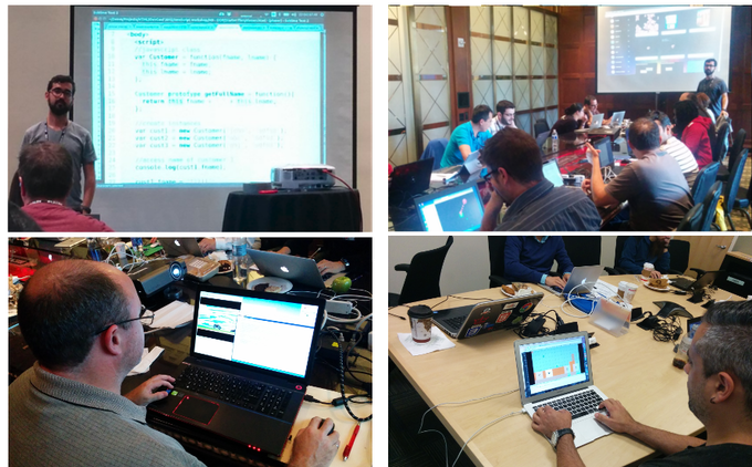 Students making quick progress in my JavaScript and game development workshops