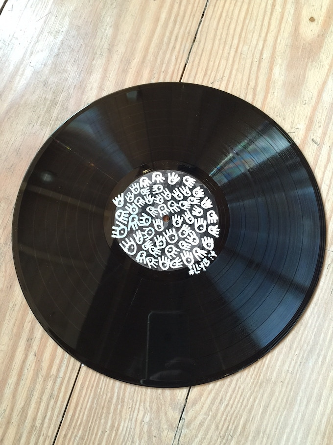 One-of-a-kind illy B Eats drawing on vinyl record