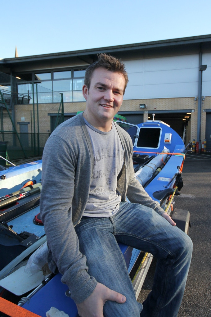 Matt Tomkin with the Ocean Rowing boat