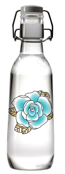 Limited Edition Whim Grace love bottle, local, recycled glass, with Whim Grace's tattoo design!  One of the amazing rewards