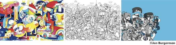Samples of Jon Burgerman's art