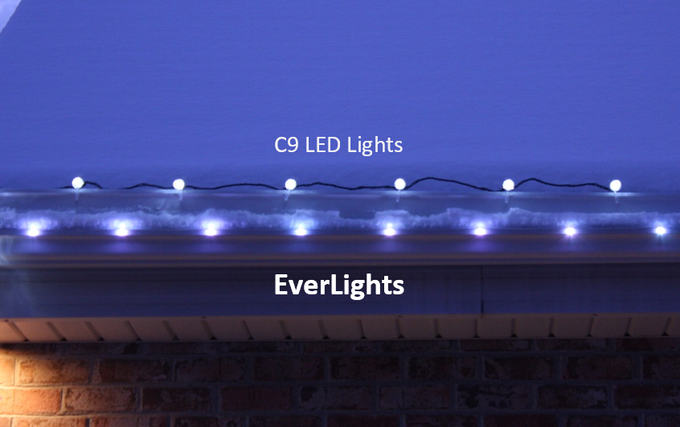 Brightness comparison: EverLights vs LED C9 traditional Christmas lights - all white