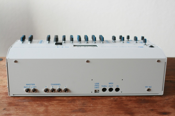 The ST4 rear side. From left to right: master output, channel output, USB programming, MIDI, AC power.