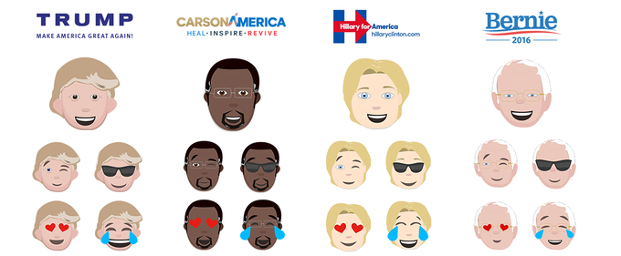 detailed look at some of the many emojis for each candidate