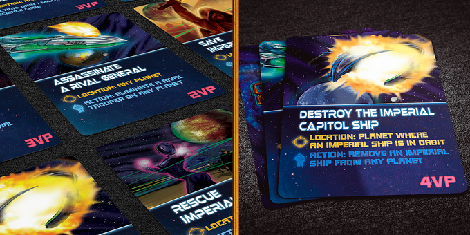 Covert Missions can be undertaken by the rebel factions to accelerate their plans to take down the Empire. Three Missions are drawn every turn, but only one can be bought!