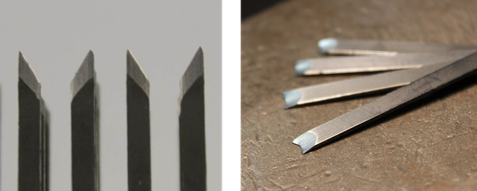 Blades of other meat tenderizers (Left), blades of miXaX (Right)