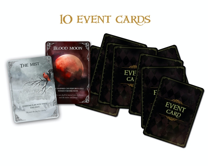 The event cards: Blood Moon, The Mist, Death, Polymorph, The Big Hunt, Villager's Rage and others.