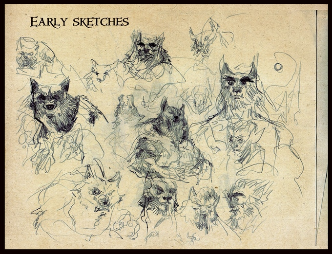 Here are some of the early drawings. At first we decided that the werewolves will have more human-like form so that they can be easily merged with the other cards but at the end only one was picked.