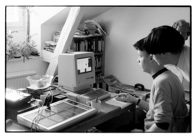"Måns and Jonas working in our ""studio"" back in 1990."