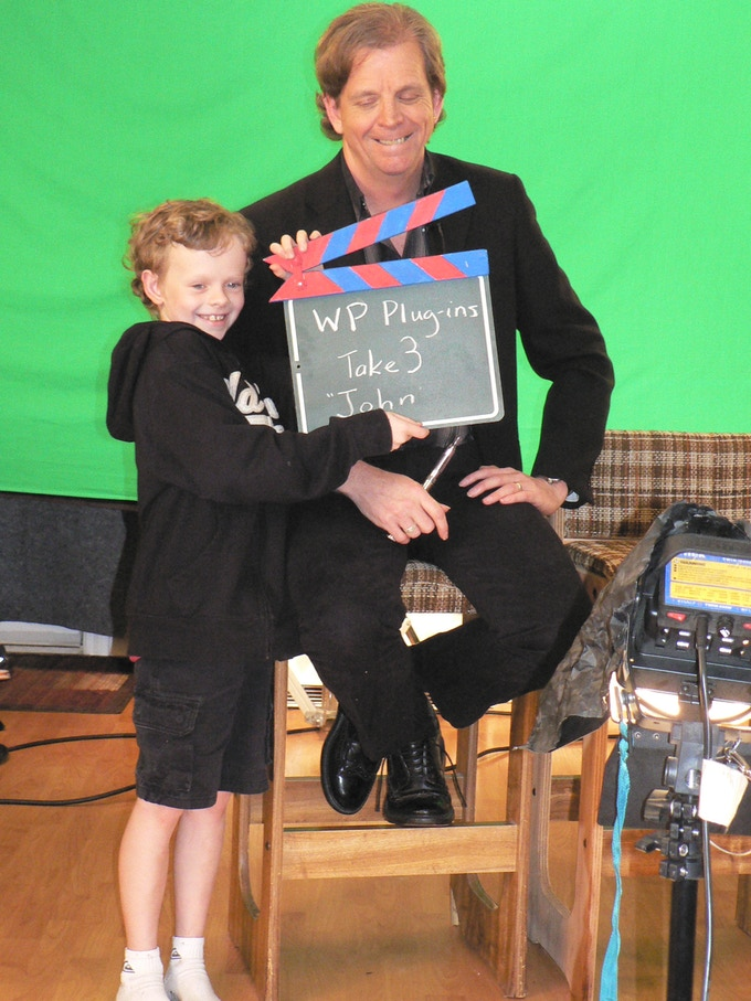 My son Ian helping in the making of the video