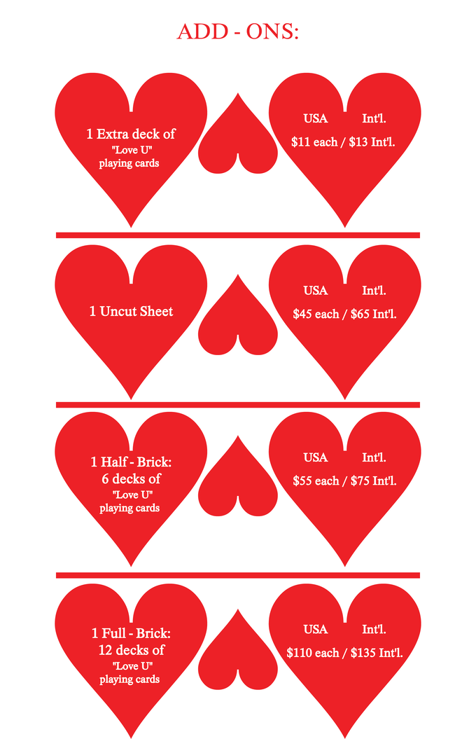 Love u playing cards by natalia silva kickstarter you will receive a survey at the end of this campaign so that you can detail what your pledge was for and you will receive any extra items that you want m4hsunfo