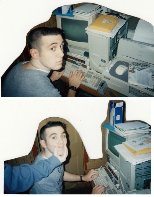 1996: The closet where it all began, with a friend of Microcosm posing for the camera