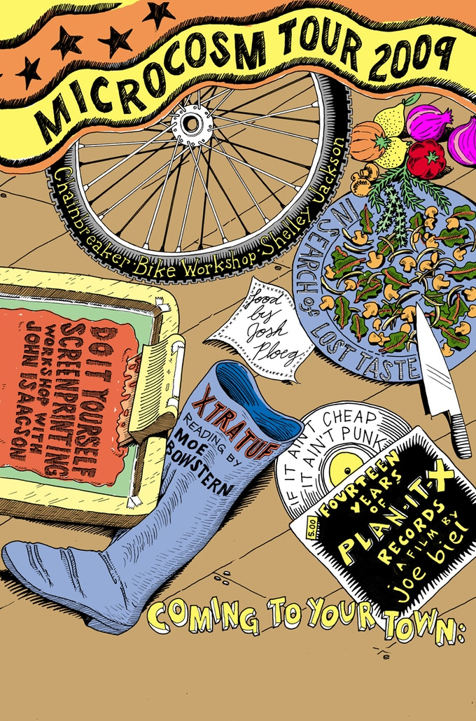 2009: Our omnibus author tour involved bike maintenance, singing sea shanties, a vegan buffet, a film screening, and a screenprinting workshop. Not your typical book tour.