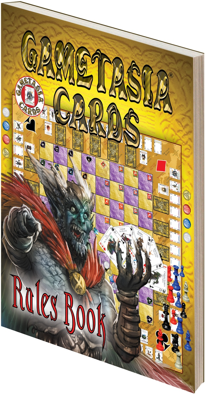"Gametasia Cards Rules Book is 8.5"" x 11"", perfect bound!"
