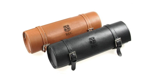 Brown and black REC leather travel case for 3 watches