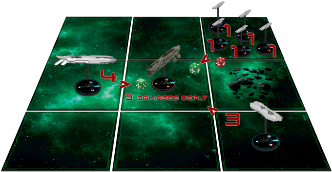 Amycles player stored 2 shield dice, allowing it to block attack from 2 squares. As a result, his battlecruiser only suffered 3 damages from the phoebe cruiser.