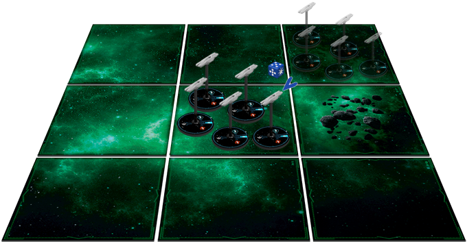 Phoebe player uses his diagonal die to move his 5 frigates.
