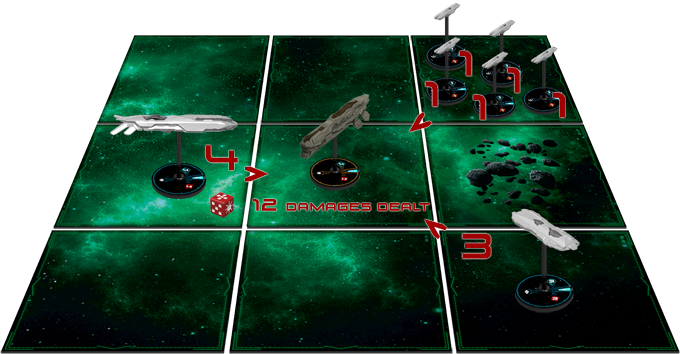 Phoebe player uses his orthogonal die to attack Amycles battlecruiser. As other ships are adjacent to the target, they support the attack, dealing a total of 12 damages (4+5+3)