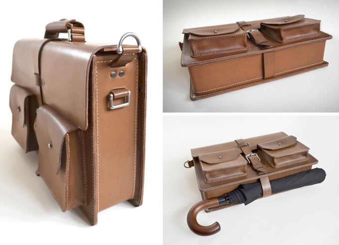"""Left: each side has an accessory ring for attaching our """"add-on"""" accessories. Right: The full wrap around belts can be used to strap items such as an umbrella to the bottom of your briefcase."""