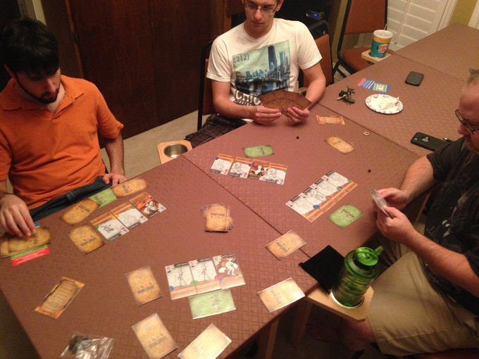 An early play test session at the Dallas Designer Group