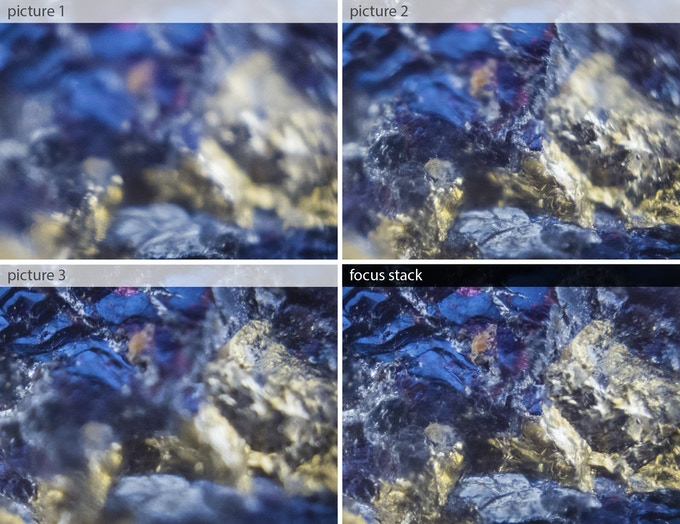 Three images of a rock surface are taken at different focus position, using µPeek's precision motor - increased depth-of-view is obtained by combining the images with Photoshop