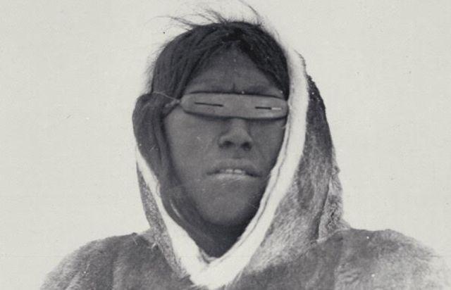 Inuit hunter wearing traditional Igaaks
