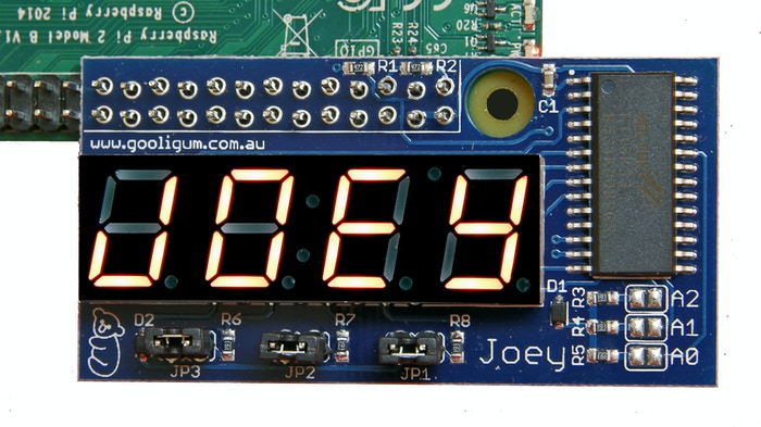 The Joey is a little LED display that sits off the side of your Pi and works with all your other add-ons.